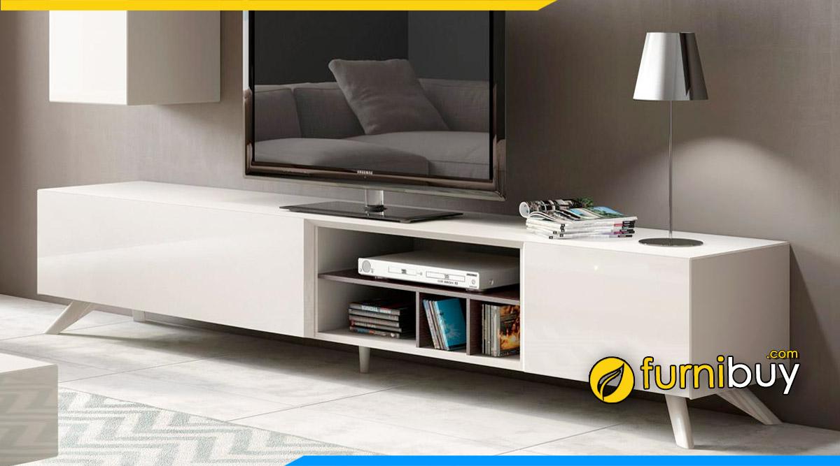 hình ảnh mẫu kệ tivi gỗ mdf acrylic màu trắng hiện đại