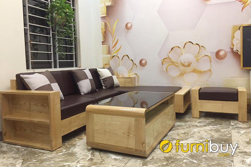 mẫu sofa gỗ hiện đại cho phòng khách chung cư