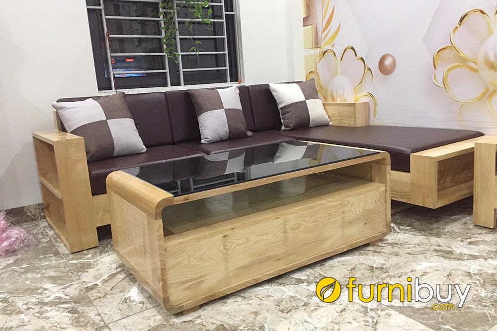 mẫu sofa gỗ sồi nệm da đơn giản nhỏ gọn