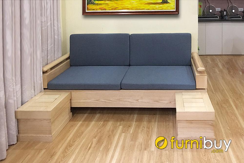 mẫu sofa văng gỗ sồi 2 chỗ ngăn dưới 2m