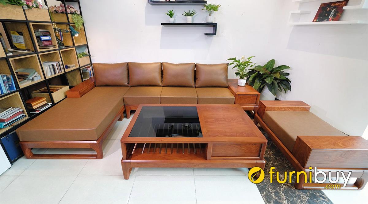 sofa gỗ có nệm mút màu da bò cao cấp