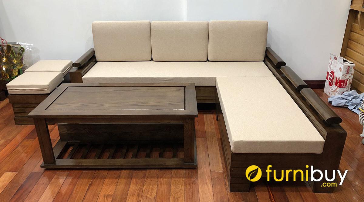 sofa gỗ sồi góc chữ L đẹp giá rẻ hiện đại