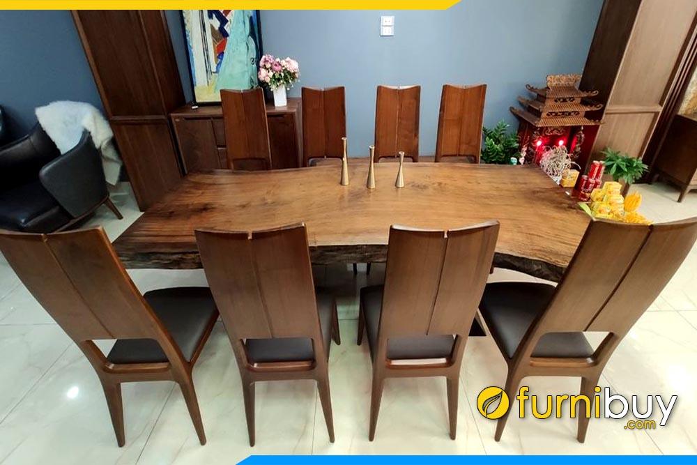 ảnh bộ bàn ăn gỗ walnuts nguyên khối 8 ghế