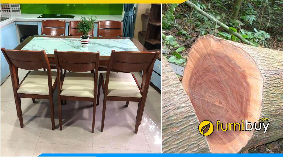 Top 5 bộ bàn ăn gỗ xoan đào mặt đá đẹp được ưa chuộng
