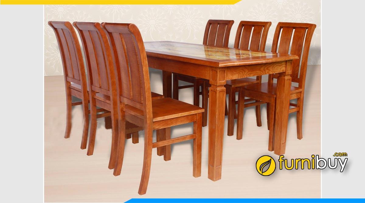 Hình ảnh bộ bàn ăn gỗ xoan mặt đá vân nâu đất loang đẹp