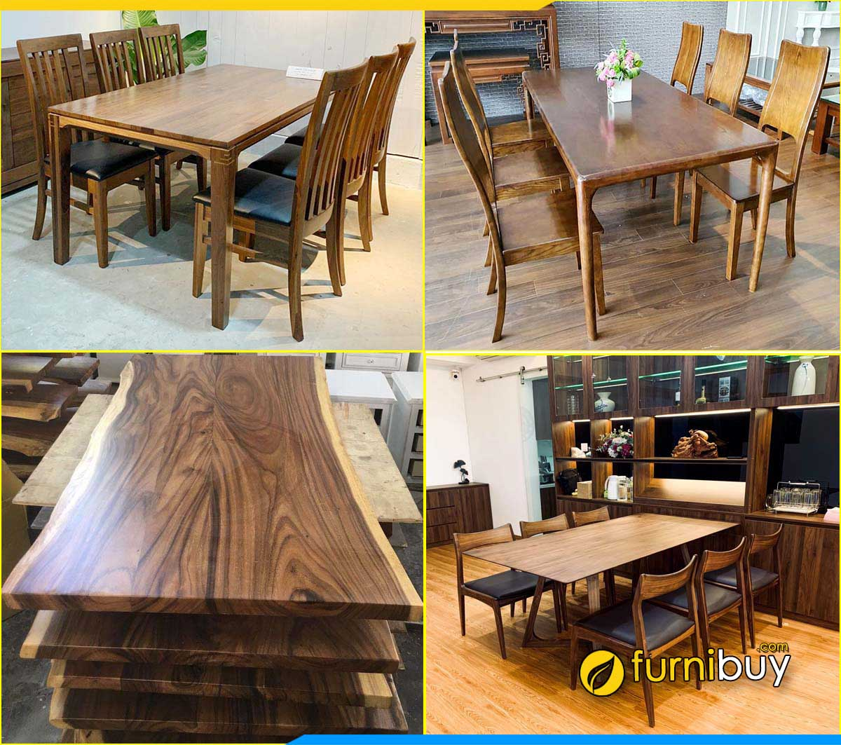 Xưởng đóng bàn ăn gỗ óc chó đẹp giá rẻ Hà Nội furnibuy