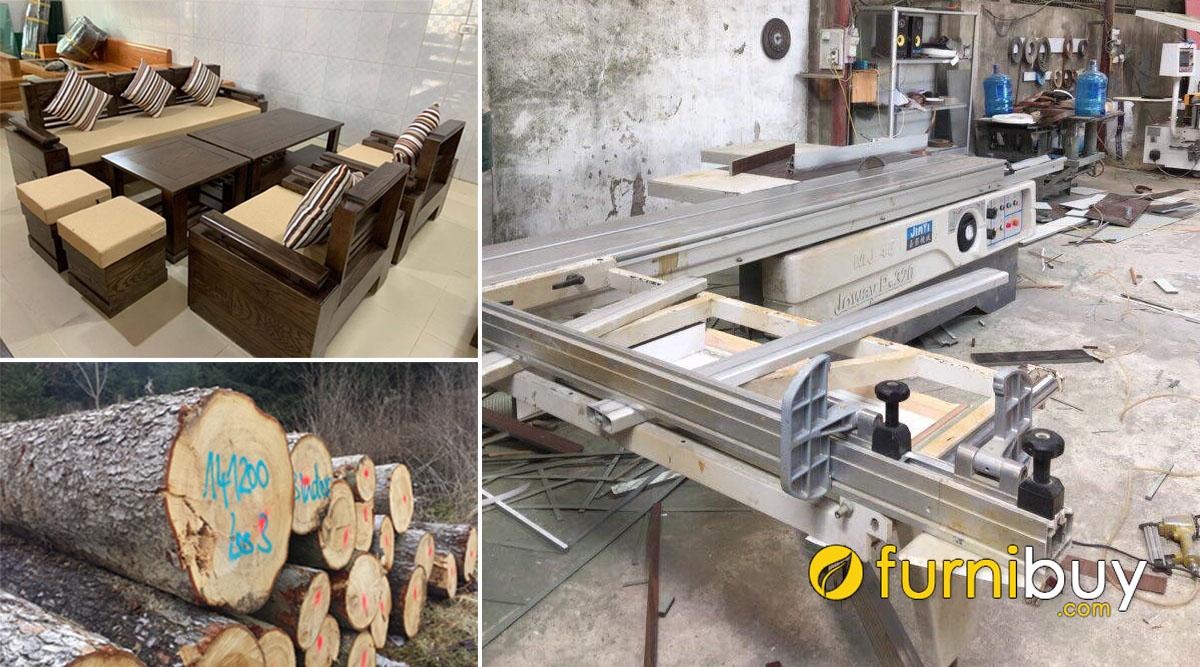 xưởng sản xuất nhận đóng sofa gỗ sồi giá rẻ chất lượng
