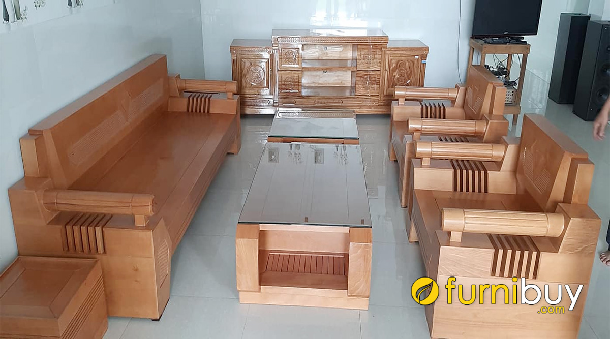 bàn ghế sofa gỗ bích đẹp giá rẻ kê phòng khách hiện đại
