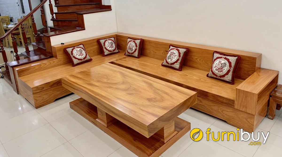 bàn ghế sofa gỗ hộp giả nguyên khối sang trọng