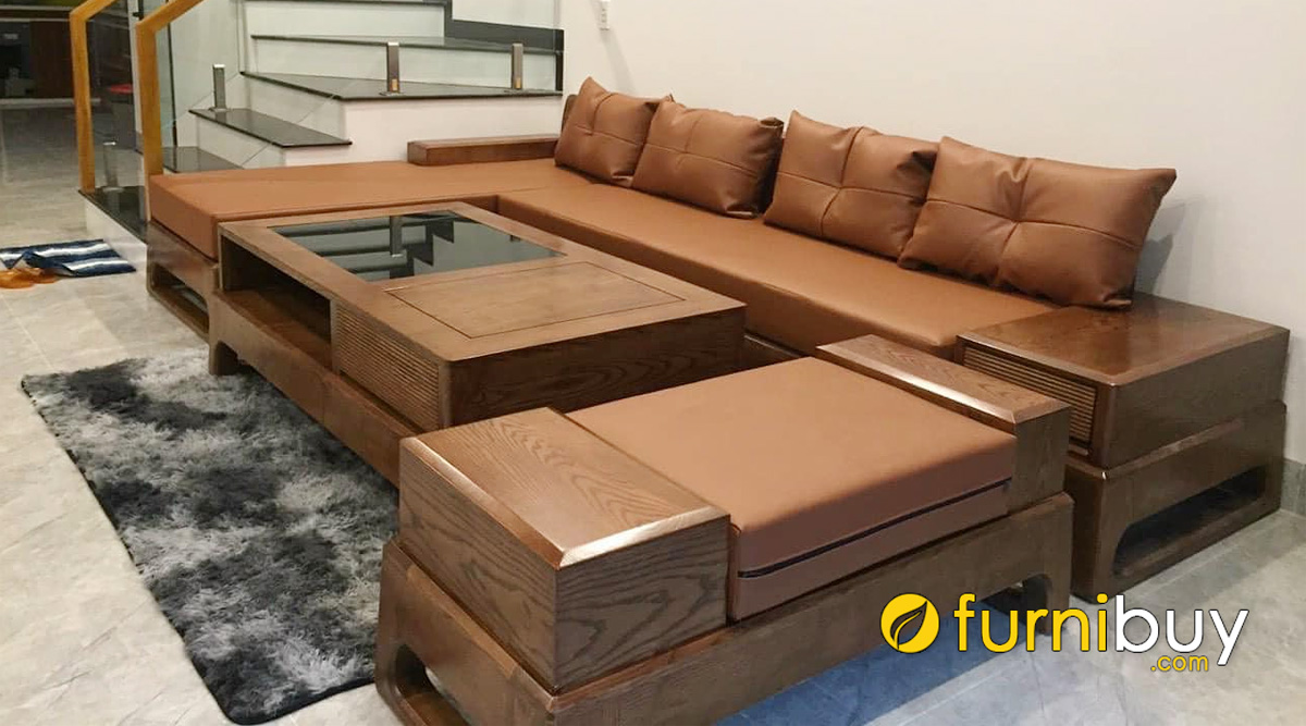 bàn ghế sofa gỗ tần bì góc chữ L đẹp