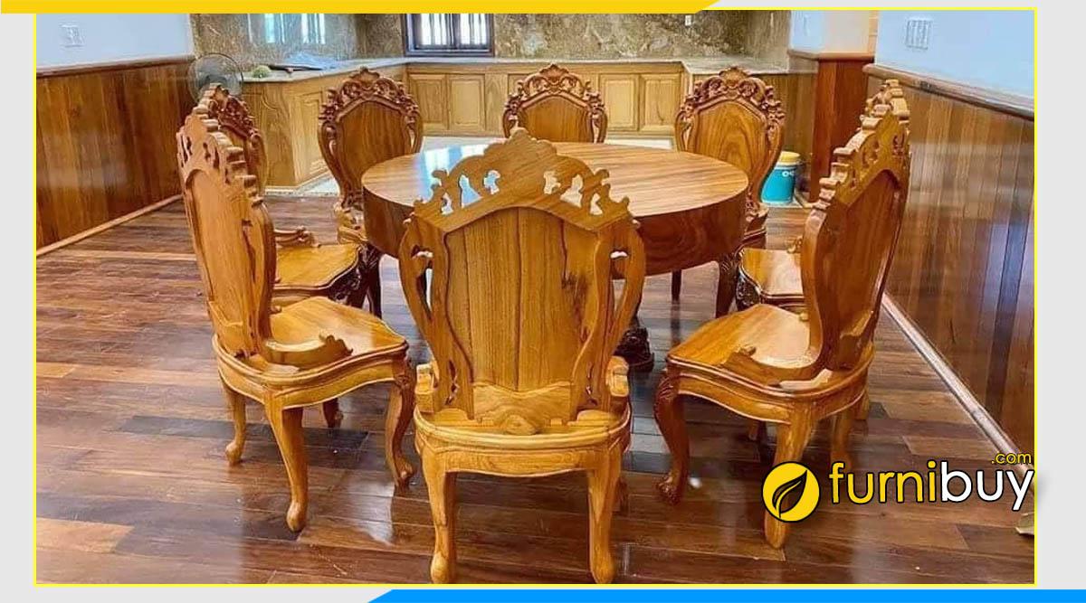 ảnh bộ bàn ăn 8 ghế gỗ gõ đỏ trạm hình hoa hồng đẹp