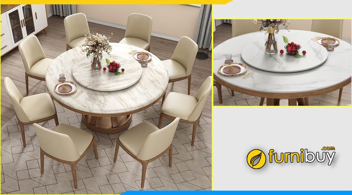 ảnh bộ bàn ăn 8 ghế hình tròn mặt đá phong cách hiện đại