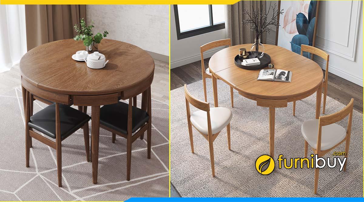 ảnh bộ bàn ăn hình tròn 4 ghế xếp gọn thông minh