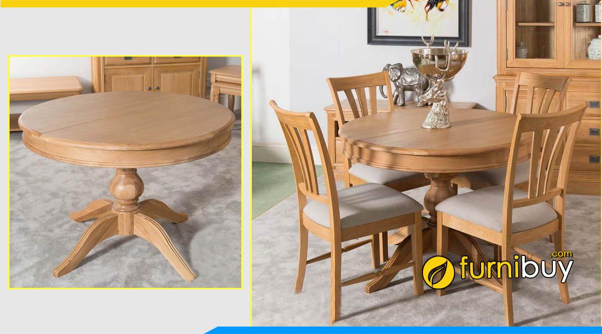 ảnh bộ bàn ăn hình tròn gỗ sồi Mỹ đẹp