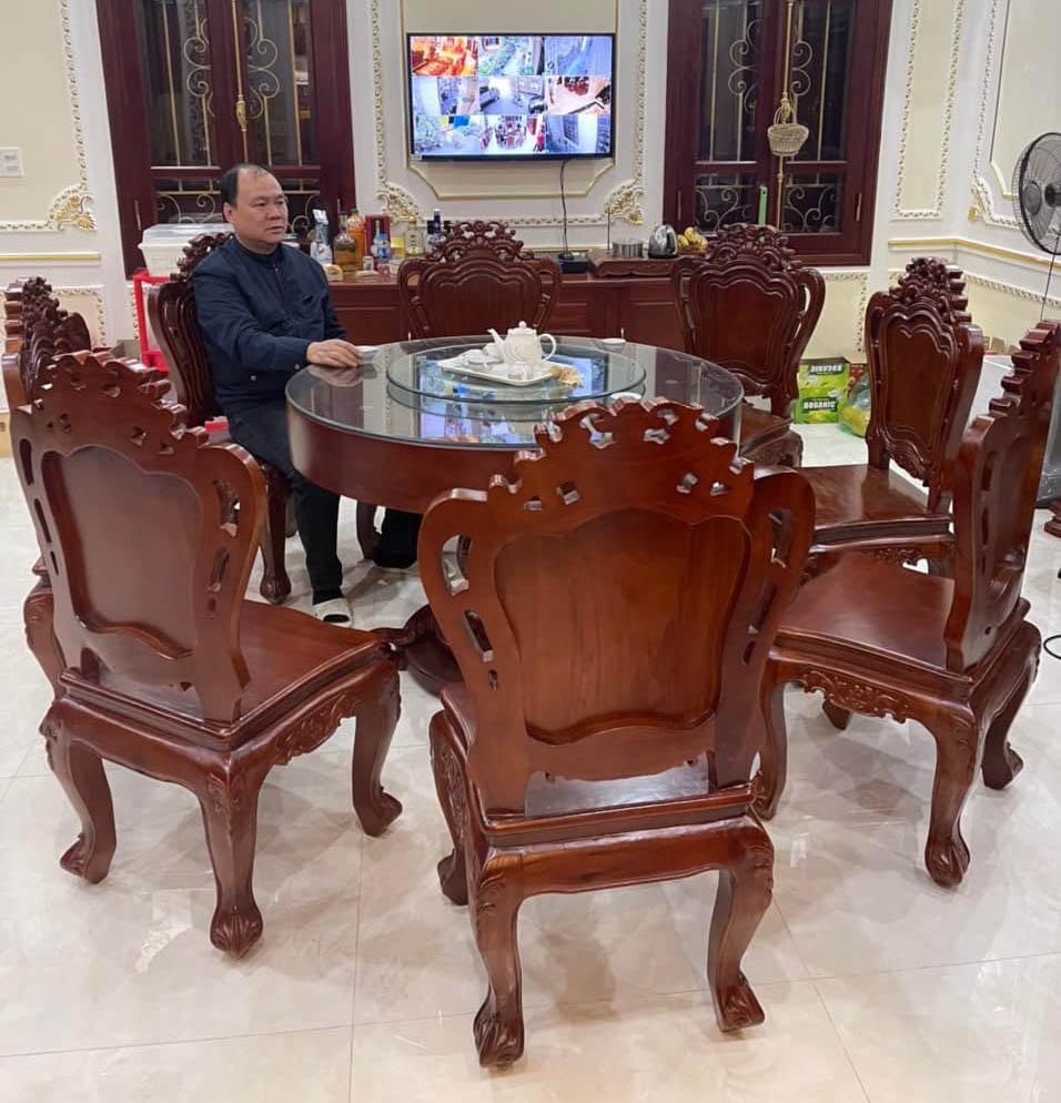 ảnh bộ bàn ăn tròn 8 ghế gỗ gõ đỏ cao cấp