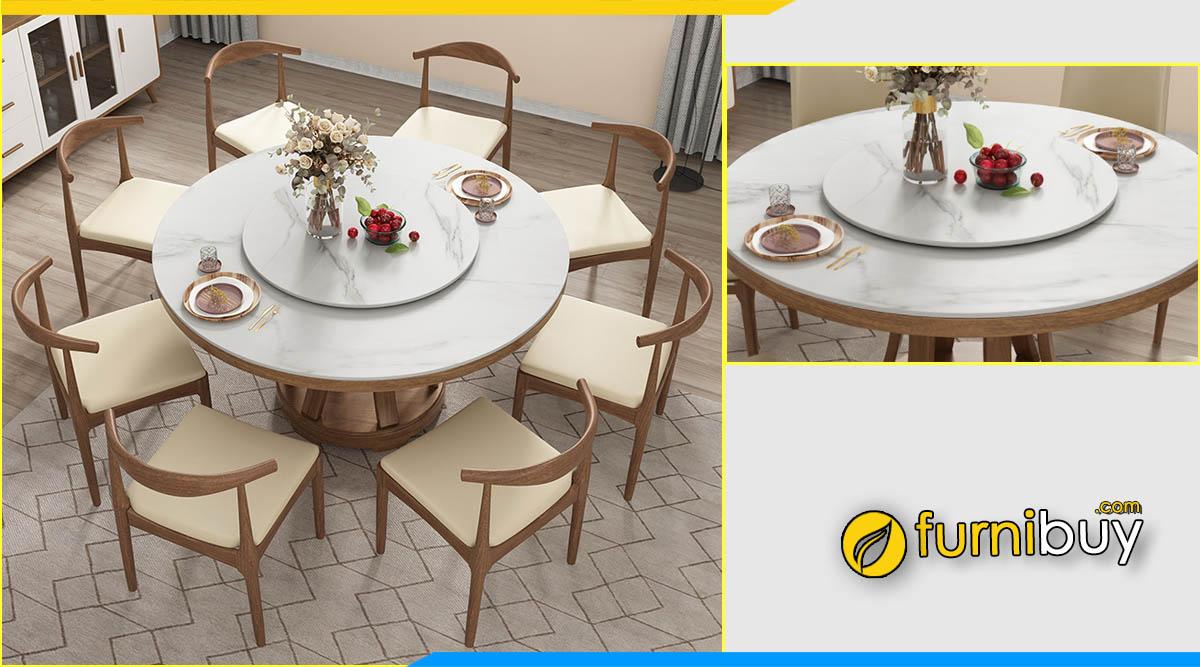 ảnh bộ bàn ăn tròn 8 ghế mặt đá mâm xoay bắc âu