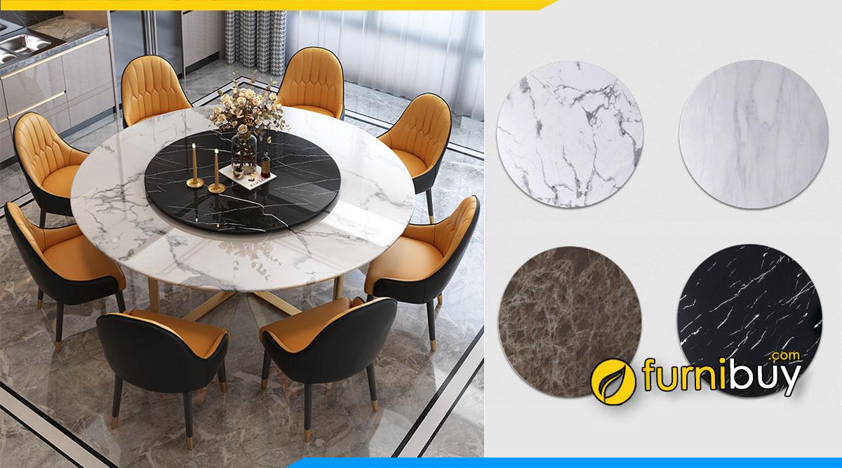 ảnh bộ bàn ăn tròn 8 ghế mặt đá vân mây đẹp