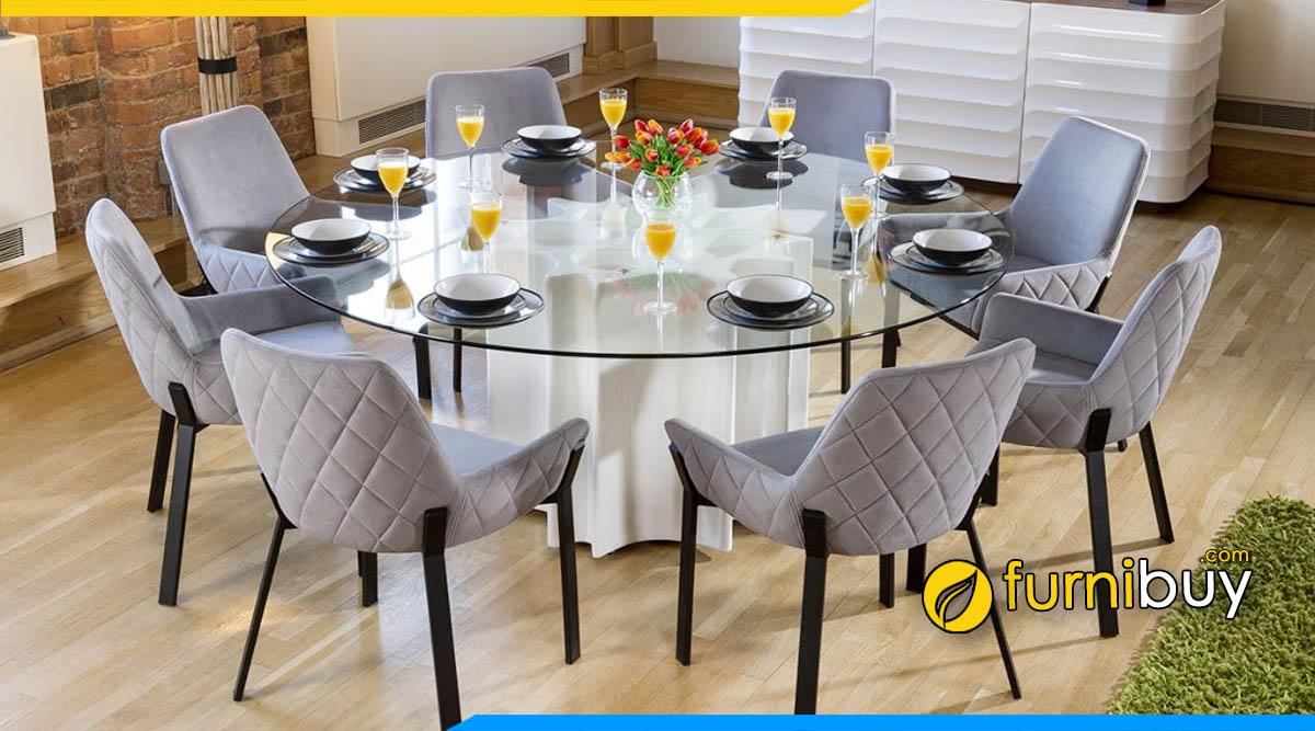 ảnh bộ bàn ăn tròn 8 ghế mặt kính chịu lực hiện đại