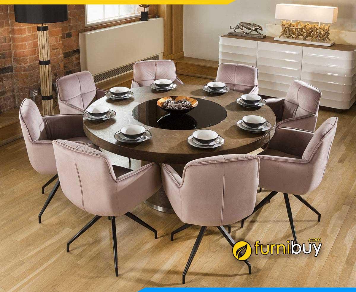 ảnh bộ bàn ăn tròn mặt gỗ 8 ghế nệm nỉ đẹp độc đáo