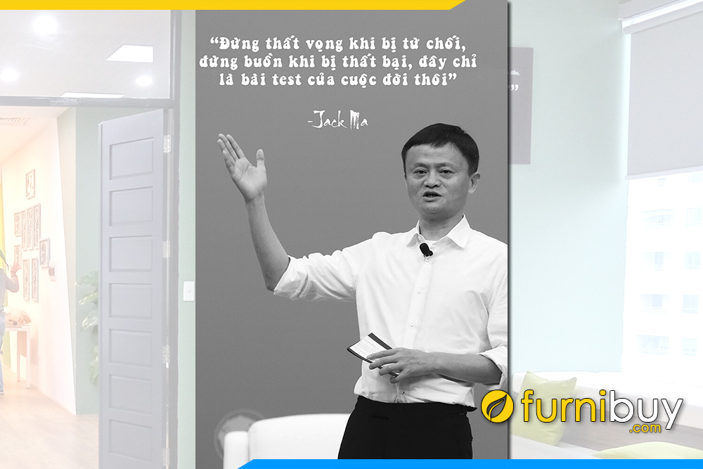 Tranh canvas 1 tam Jack Ma khau hieu lam viec