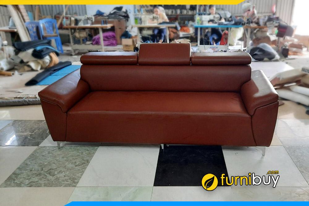 Furnibuy làm sofa theo yêu cầu cho văn phòng nhỏ màu da bò đẹp sang trọng