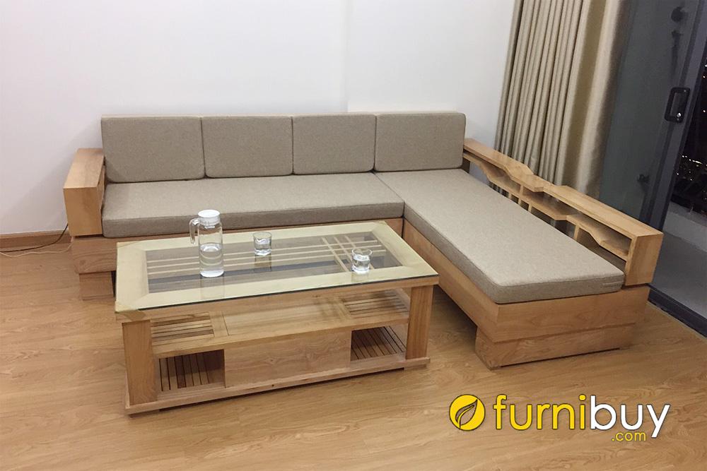 ghế sofa gỗ chữ L cho chung cư bọc nỉ êm ái trẻ trung