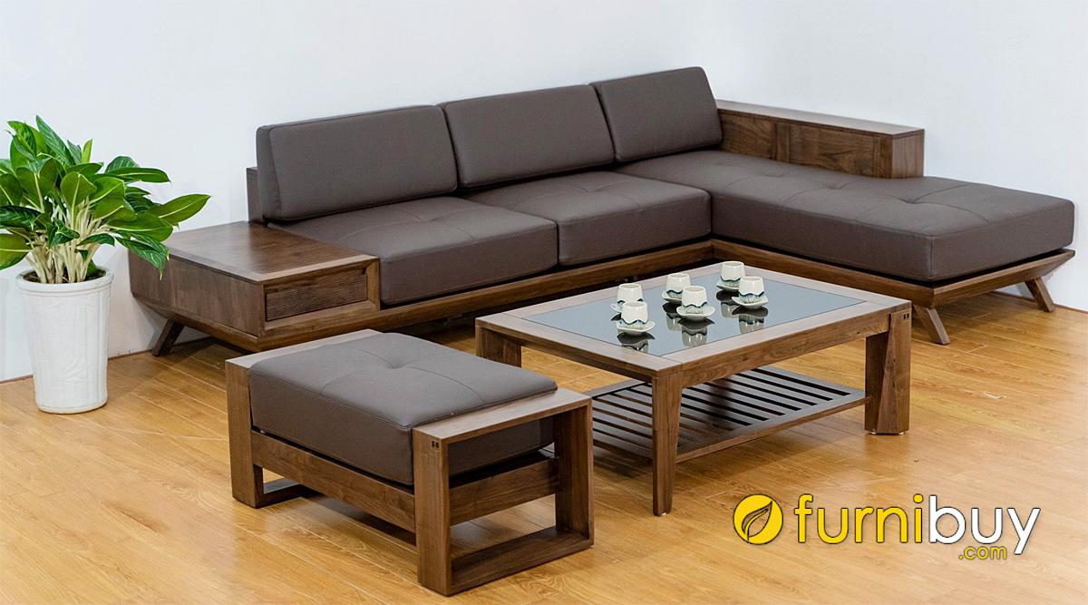 ghế sofa gỗ chữ L cho phòng khách chung cư hiện đại