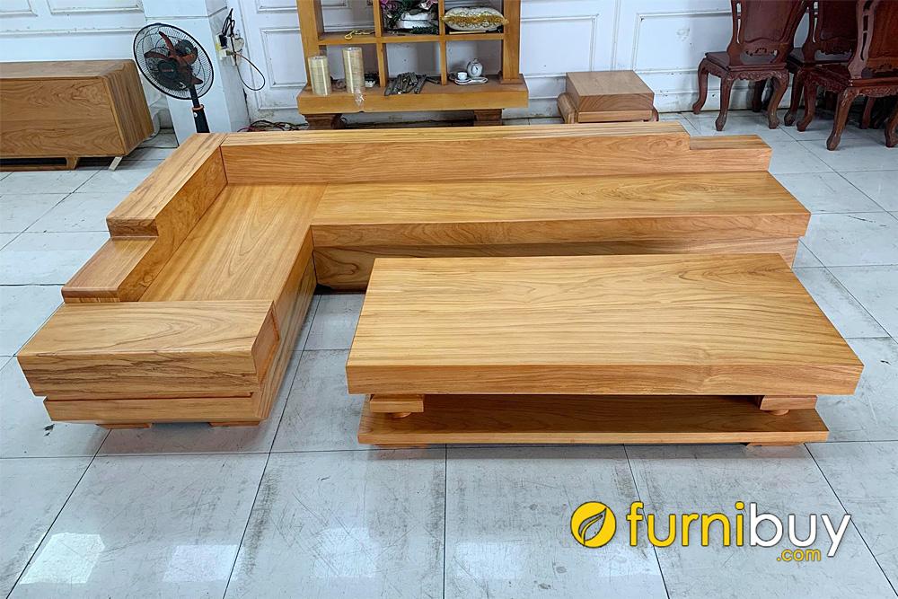 ghế sofa gỗ chữ L nguyên khối đẹp đẳng cấp