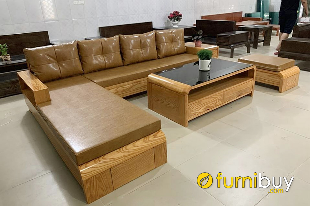 ghế sofa gỗ góc L kết hợp nệm da sang trọng