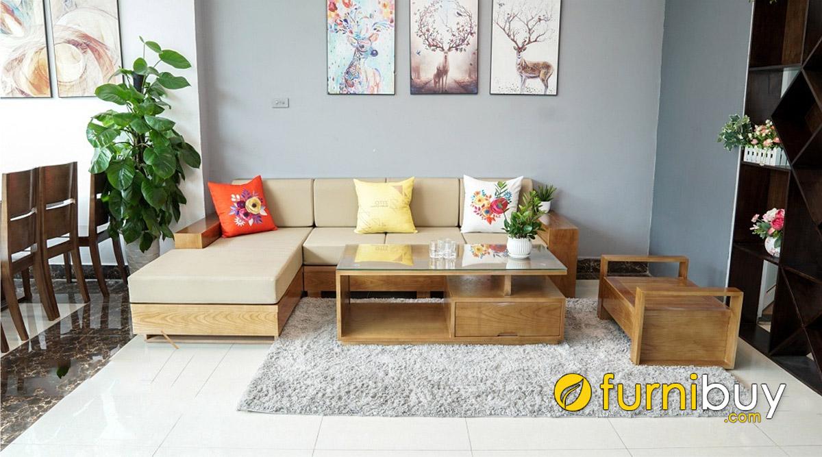 ghế sofa gỗ góc L nệm nỉ hiện đại kích thước nhỏ gọn