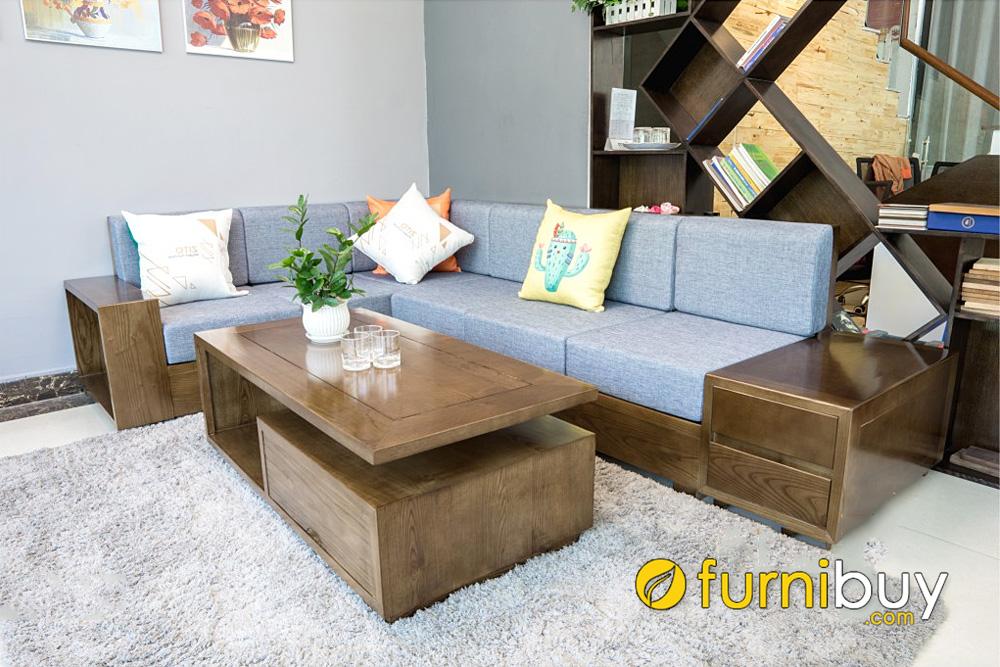 ghế sofa gỗ sồi góc chữ L nệm nỉ hiện đại cho phòng khách nhỏ
