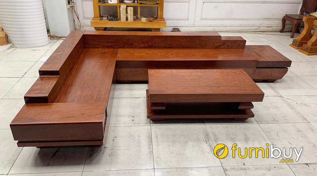 ghế sofa gỗ xoan đào sơn màu gỗ cẩm giả nguyên khối