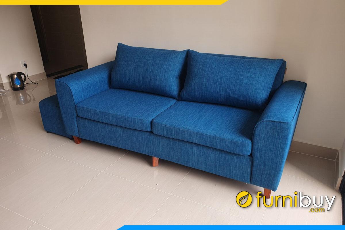 ghe sofa ni tho mau xanh kich thuoc 1m6