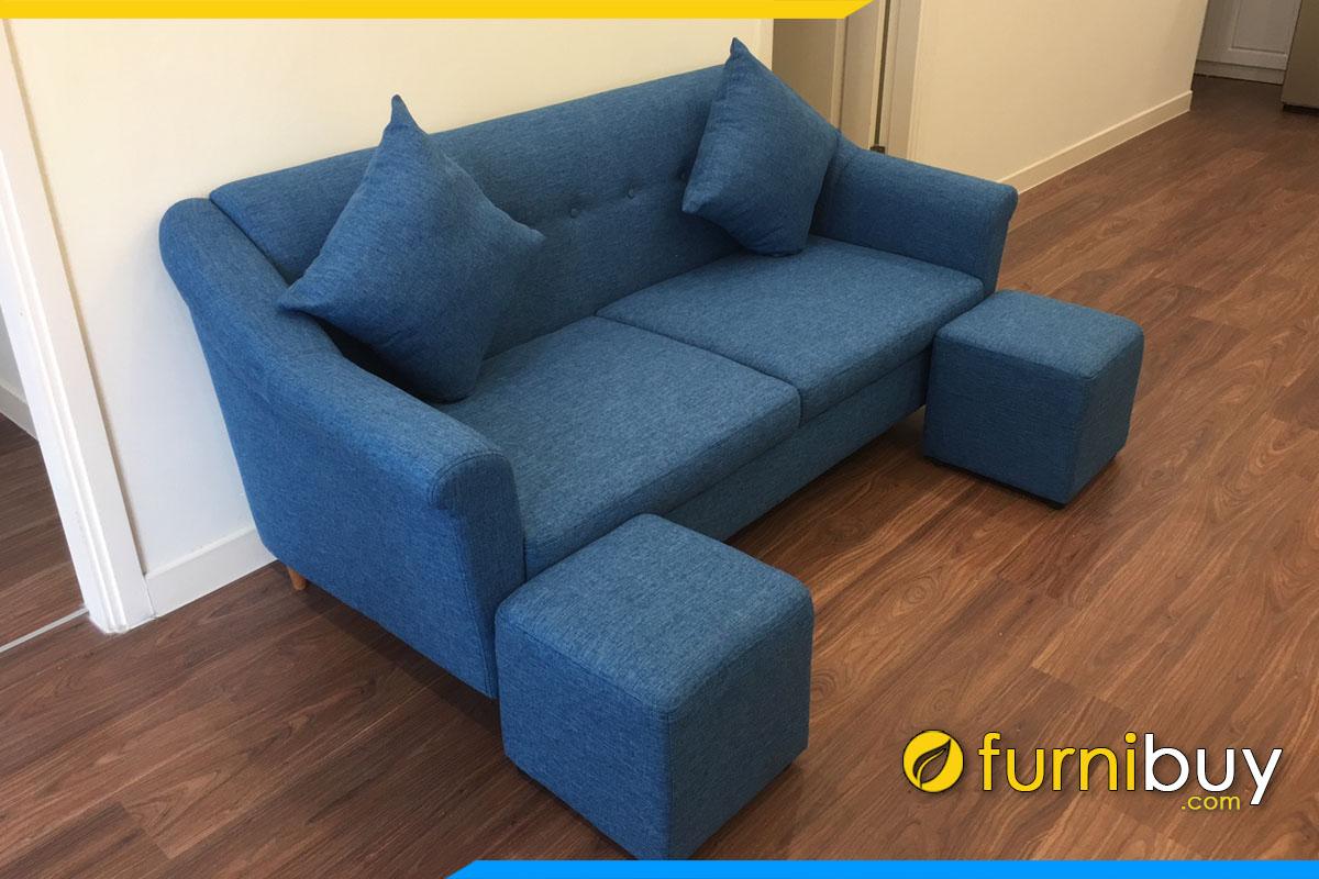 ghe sofa vang 2 cho ngoi boc ni tho mau xanh