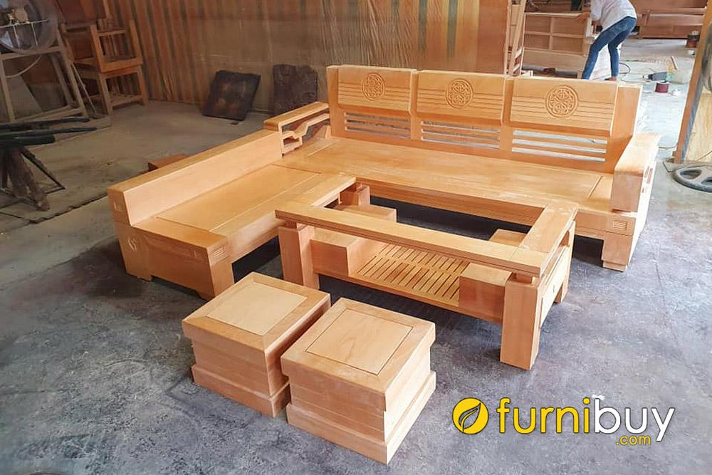 giá bán sofa gỗ góc chữ L gỗ bích hiện đại
