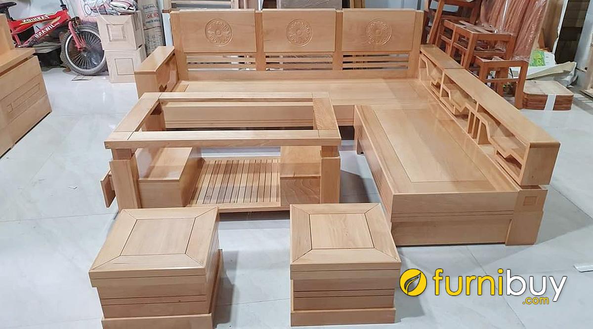 kích thước ghế sofa gỗ góc L nhỏ gọn