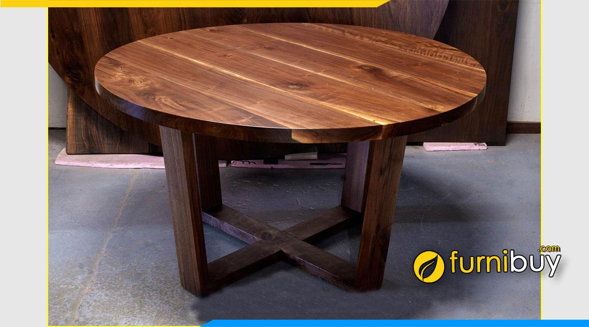 Mẫu bàn ăn gỗ óc chó hình tròn nhỏ đẹp