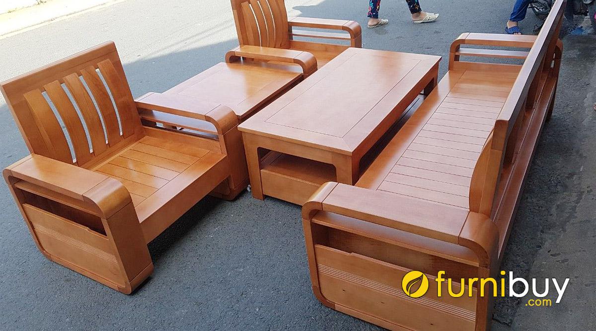 mẫu bàn ghế sofa gỗ bích đẹp hiện đại kê nhà phố