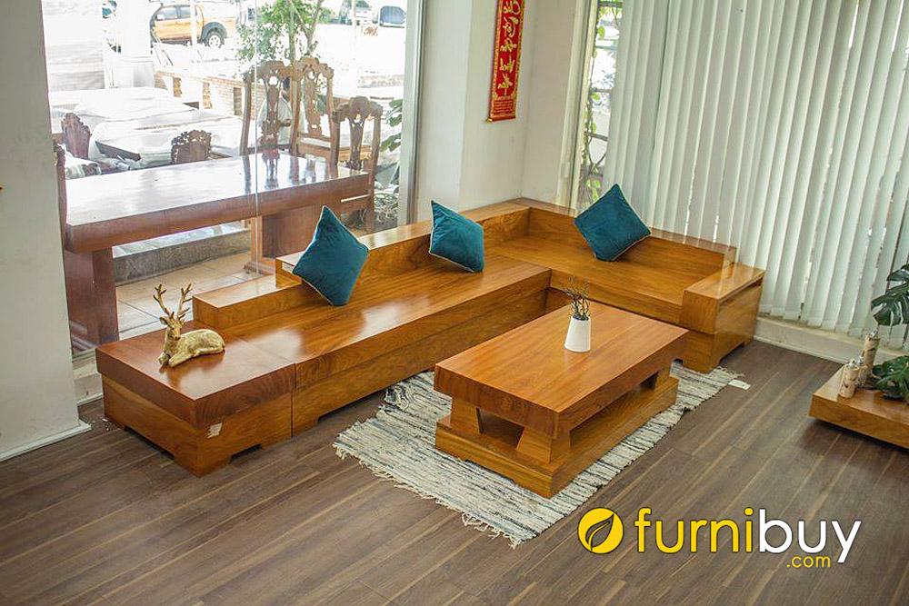 mẫu ghế sofa gỗ chữ L nguyên khối cho nhà phố hiện đại