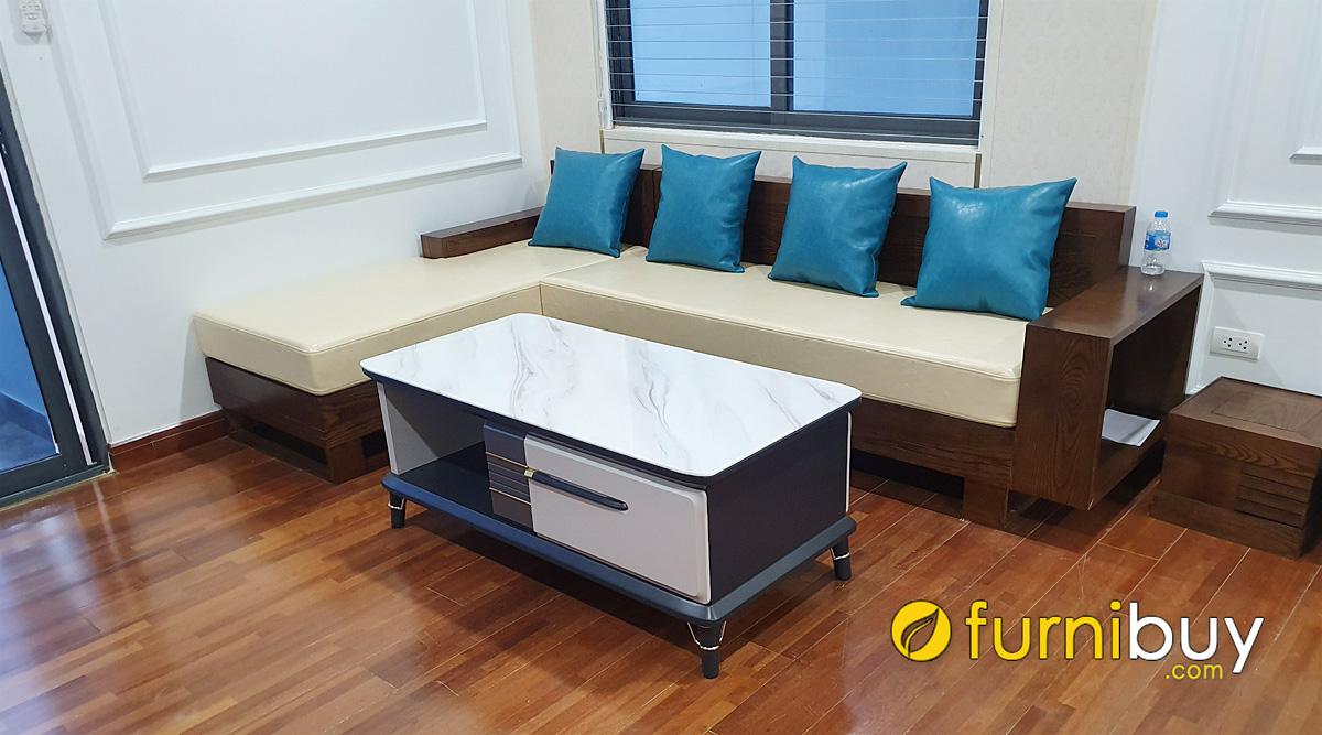 mẫu ghế sofa gỗ chữ L nhỏ gọn mini kê phòng khách nhỏ