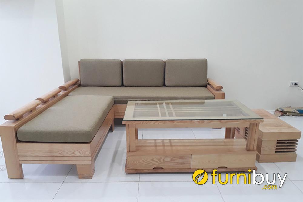 mẫu ghế sofa gỗ chữ L nhỏ mini giá rẻ
