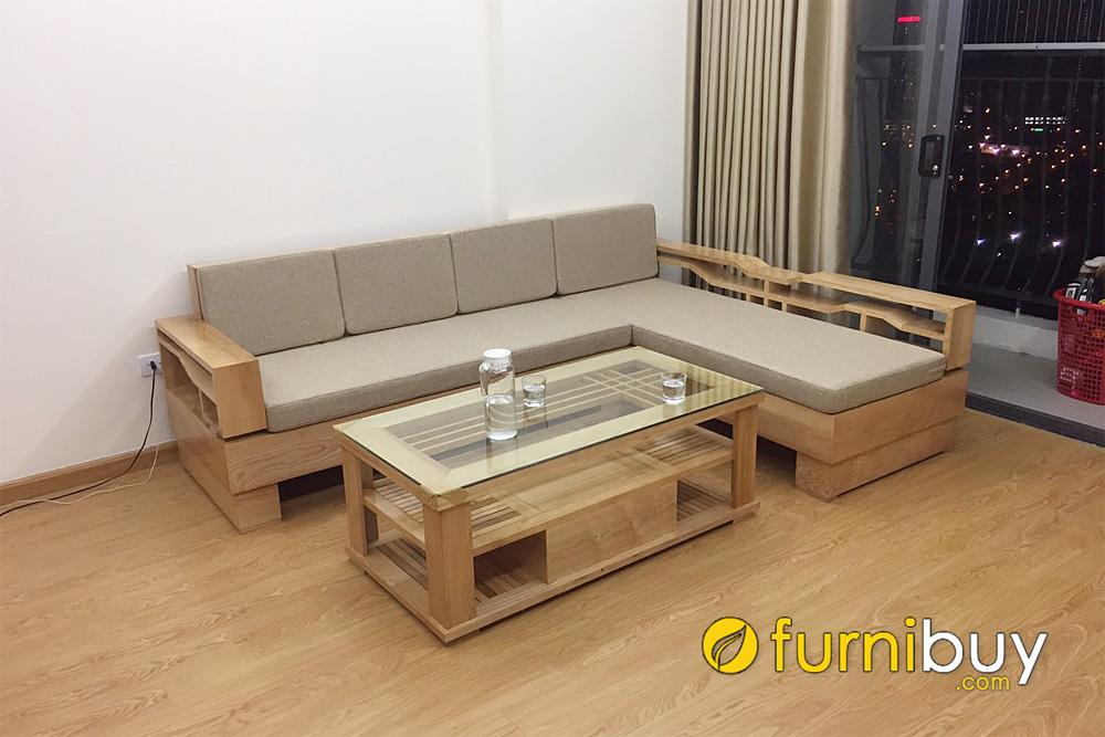 mẫu ghế sofa gỗ góc chữ L nệm nỉ nhỏ mini