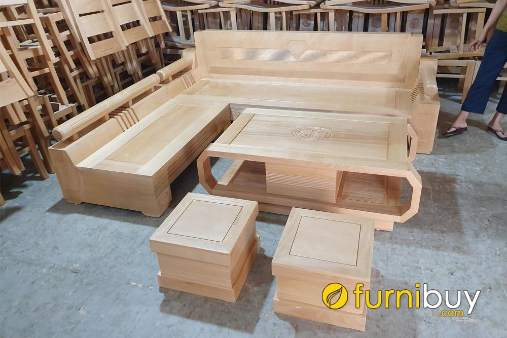 mẫu sofa gỗ bích góc chữ L hình kim cương đẹp