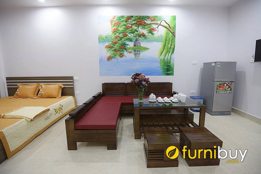 mẫu sofa gỗ chữ L nhỏ gọn kết hợp phòng ngủ