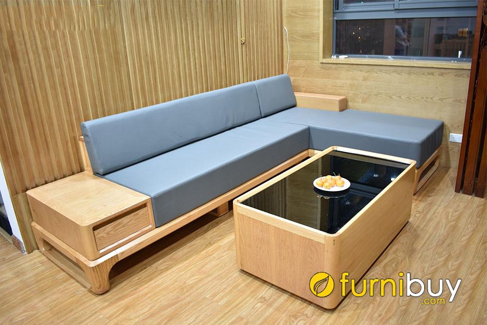 mẫu sofa gỗ sồi góc L kê nhà phố chung cư hiện đại