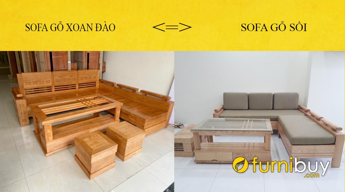so sánh sofa gỗ xoan đào và sofa gỗ sồi chi tiết nhất
