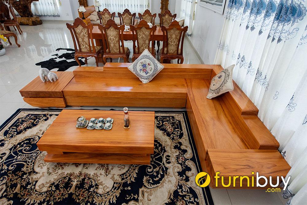 sofa gỗ cho phòng khách rộng cao cấp