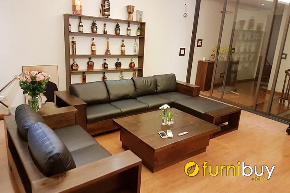 sofa gỗ chữ L kích thước nhỏ gọn kê nhà chung cư