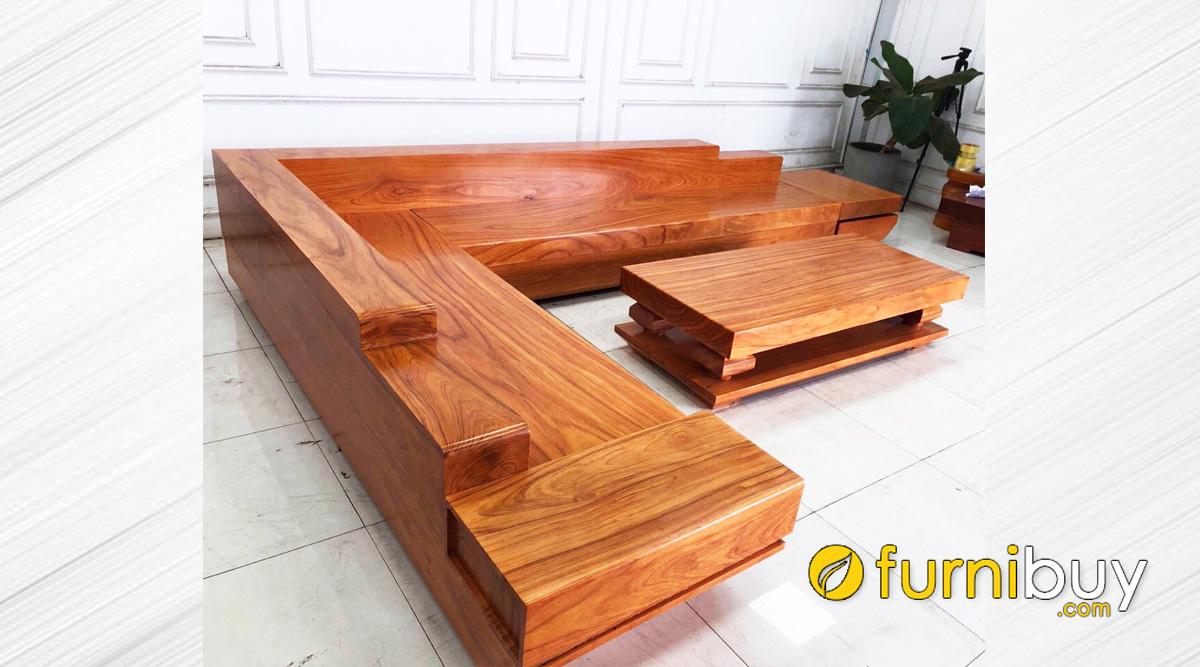 sofa gỗ góc chữ L dạng hộp hiện đại