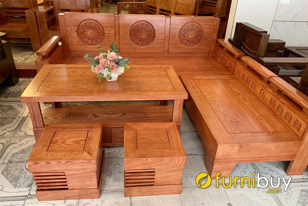 sofa gỗ góc chữ L giá rẻ màu cánh gián đẹp